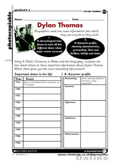 biography and autobiography primary resources dylan thomas biography plan free primary ks2 teaching