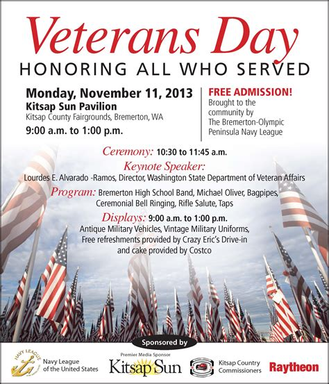Nov 11 Veterans Day Ceremony Bremerton Olympic Peninsula Council Navy League Of The Us Veterans Day Program Template