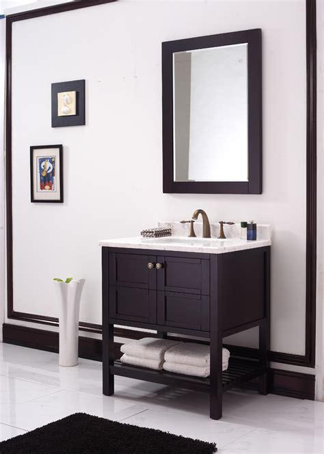 american style solid wood bathroom vanity in bathroom