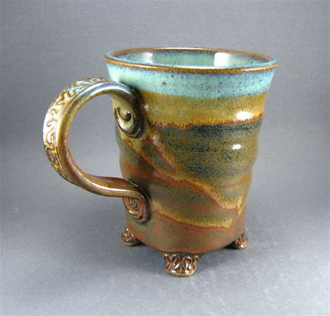 Handmade Clay Pottery - textured mug twisted spiral and squared details