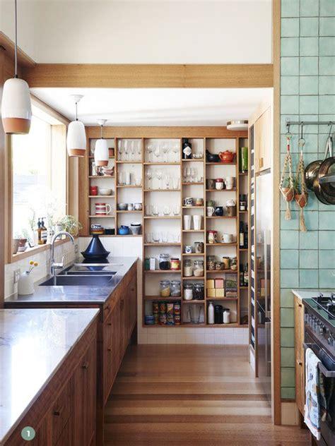kitchen inspiration  stylish  organized open pantries