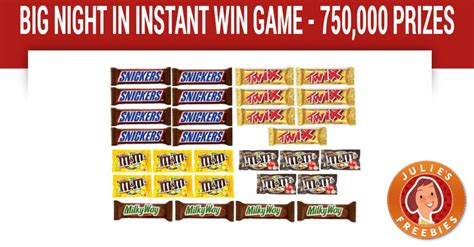 Free Candy Giveaway - big night in instant win game julie s freebies