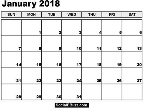 2018 calendar template printable january 2018 calendar printable template with holidays pdf