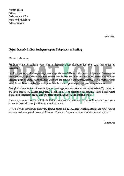 Demande De Logement Lettre Gratuite lettre de demande d allocation logement pour l adaptation au handicap pratique fr