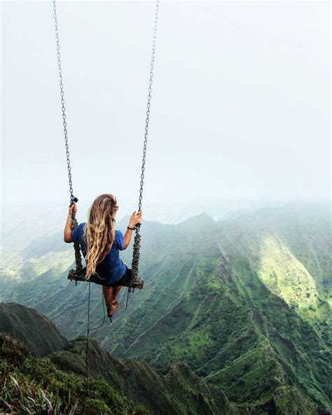 swing heaven terrifying swing over a hawaiian valley on pinterest