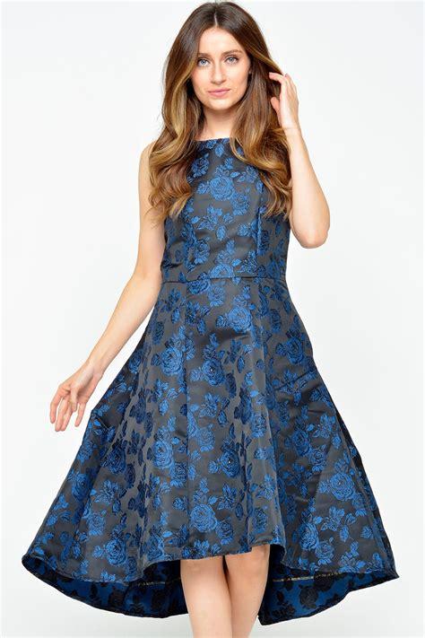 Blue Ruffled Brocade Dress marc angelo sally brocade dress in royal blue iclothing