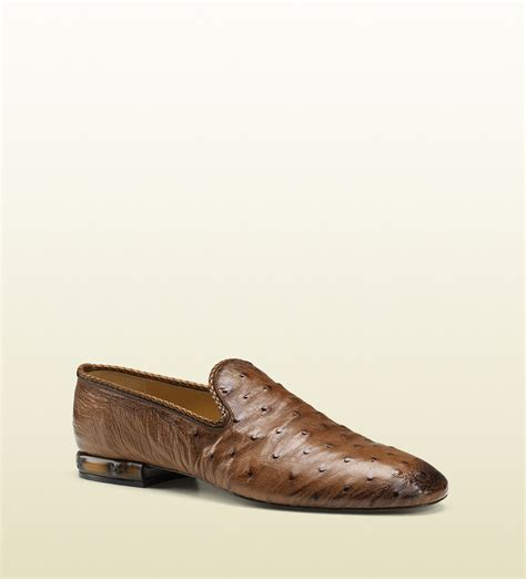 mens ostrich loafers gucci ostrich loafer with leather piping in brown for