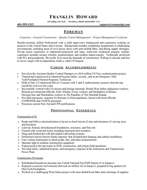 resume for road construction worker
