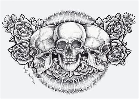 chest tattoo designs drawings dot skull and roses chest finished by