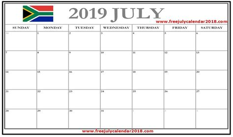 july  calendar south africa july  calendar