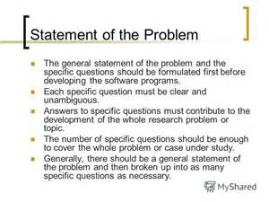 Statement Of The Problem For Thesis Quot How To Write The Thesis Documents