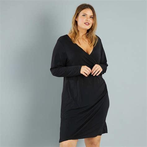 Patron Robe Cache Coeur Femme Grande Taille - robe courte effet cache coeur grande taille femme noir