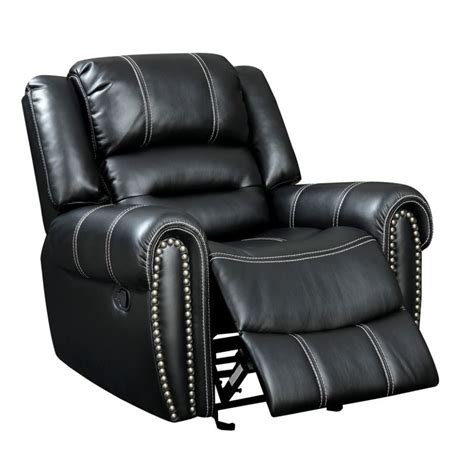 black faux leather recliner furniture of america stinson faux leather recliner in