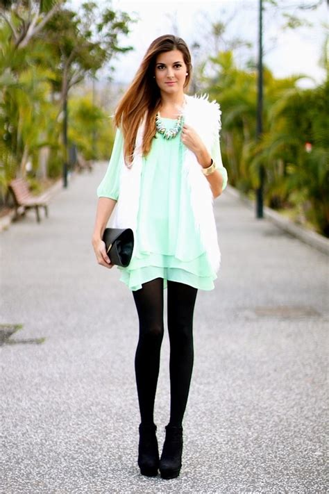 black white dress with tights white fur vest mint dress with black tights fashion