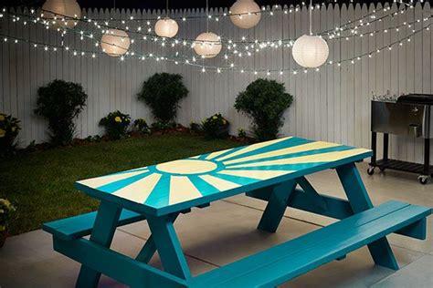 diy sunburst painted picnic table painted picnic tables