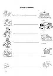 english worksheets people in my community