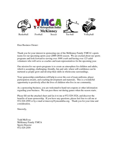 sponsor letter template for sports 28 images