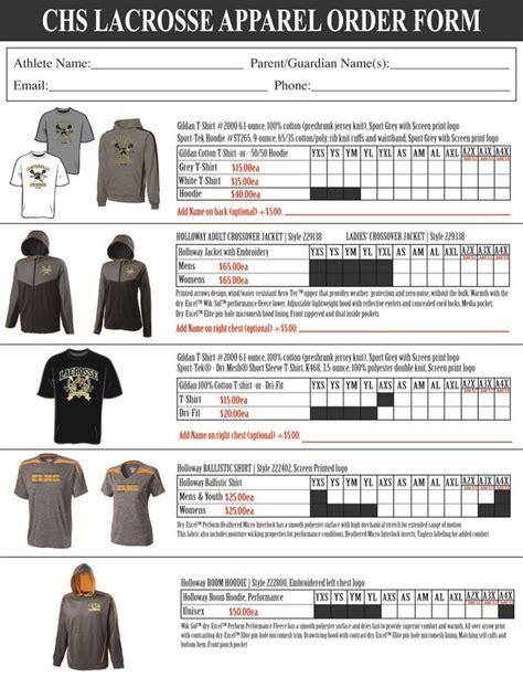 spirit wear order form template 2014 elks lacrosse spirit apparel