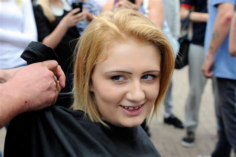after girls headshave selena proves to be a real hair o after charity head