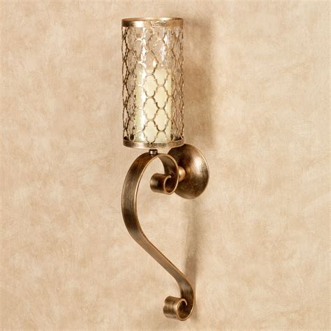 Hurricane Wall Sconce Soren Antique Gold Quatrefoil Hurricane Wall Sconce