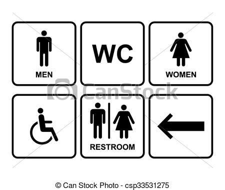 simbolo bagno uomini set femmina icone simbolo bagno freccia disability