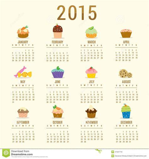 Calendario Z Cup 2015 Calendar 2015 Cupcake Vector Stock Vector