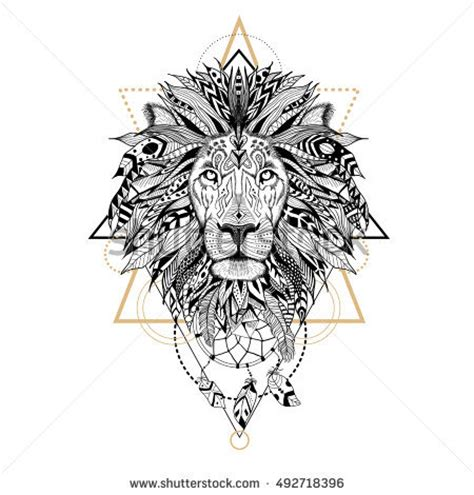 aztec lion tattoo detailed aztec style stock vector 307080095