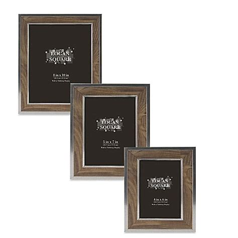bed bath and beyond frames logan wood grain picture frame in walnut silver bed bath