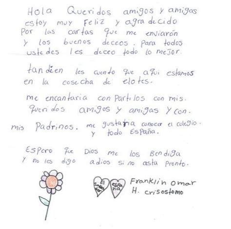 cartas letters el carta de franklin un ni 241 o de el salvador apadrinado por un colegio de sevilla children
