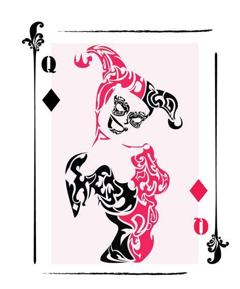 mad joker tattoo designs harley quinn tribal card by chronophoenix on deviantart