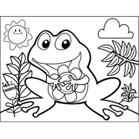 happy frog coloring page happy frog with flower coloring page