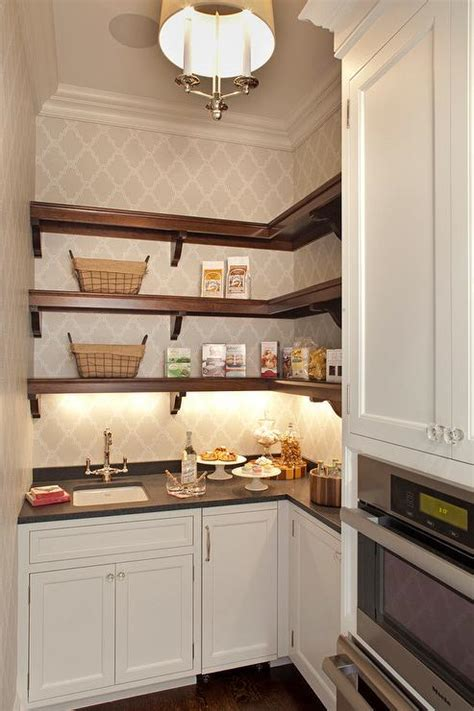 stained wooden butler pantry shelves transitional kitchen