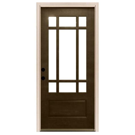 32x78 Exterior Door Steves Sons 32 In X 80 In Craftsman 9 Lite Stained Mahogany Wood Prehung Front Door M3109 2