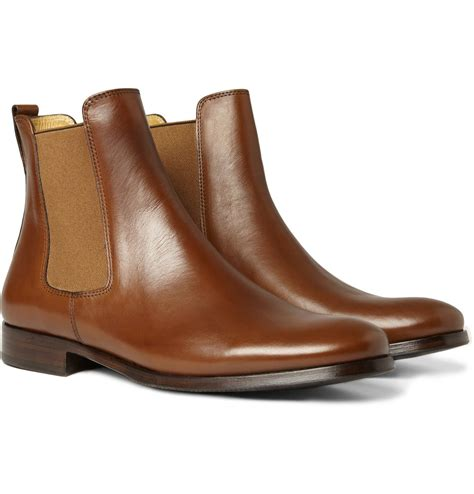 apc boots a p c leather chelsea boots in brown for lyst