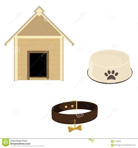 dog house leather dog equipment icon set stock illustration image 61739622