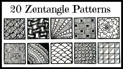 easy zentangle patterns printable easy 20 zentangle patterns for beginners youtube