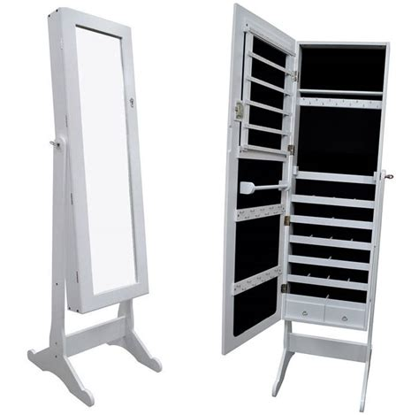 white standing mirror jewelry armoire white large mirrored jewelry cabinet armoire organizer