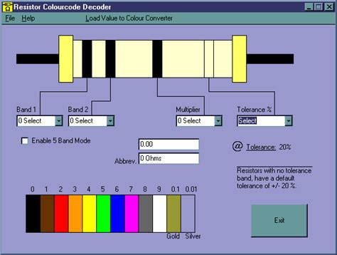 resistor color code calculator software free resistor colourcode decoder 1 8 a program that decodes 4 or 5 band coded resistors