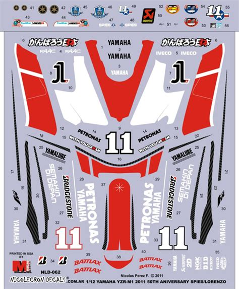 1 12 Yzr M1 11 Lorenzo Spies Decal Nicolecron Decals 1 12 motogp store