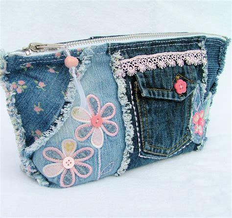 Patchwork Pencil - denim patchwork pencil cosmetic purse