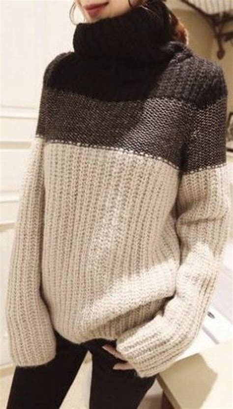 jersey turtleneck pattern coffee color block print high neck pullover sweater