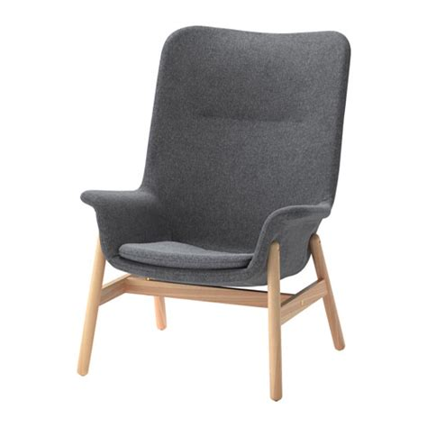 vedbo high back armchair gunnared grey ikea