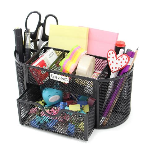 Black Mesh Collection Office Desk Supplies Organizer Caddy Desk Supplies Organizer