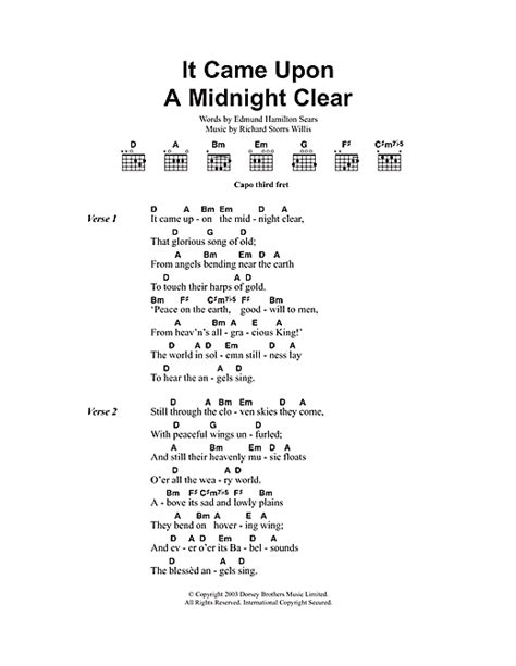 printable lyrics it came upon a midnight clear it came upon the midnight clear sheet music by christmas