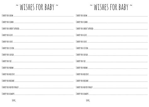wishes for baby printable template wishes for baby template wee ones babies