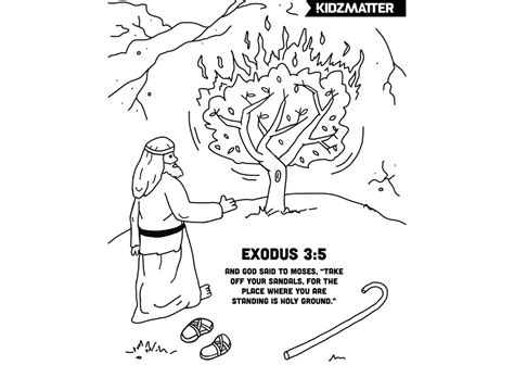 moses burning bush coloring page w verse sunday school