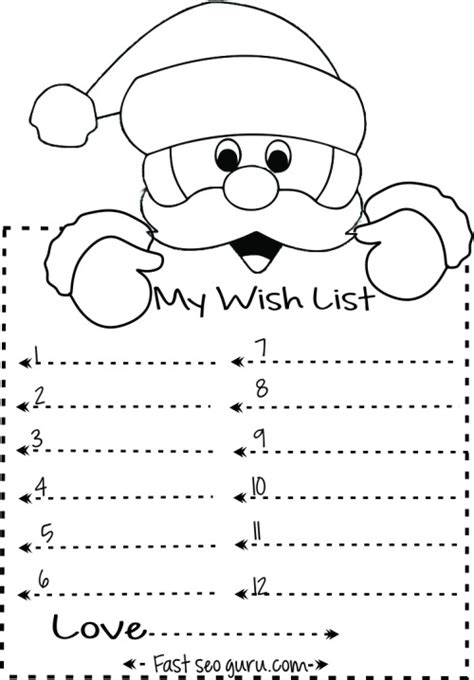 coloring pages of christmas list printable coloring page
