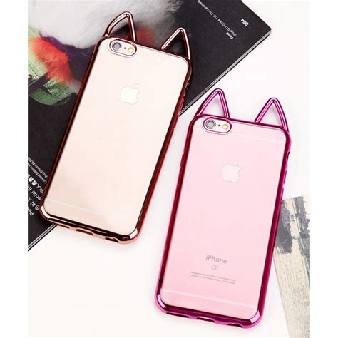 Iphone6 Softcase Motif Iphone Softcase Iphone Iphone cat ears plating soft tpu clear cover for iphone 6 plus 6s plus 5 5 inch