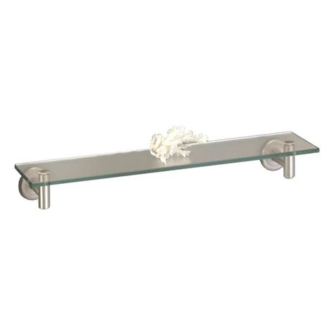 lowes bathroom glass shelves shop gatco latitude satin nickel glass bathroom shelf at lowes