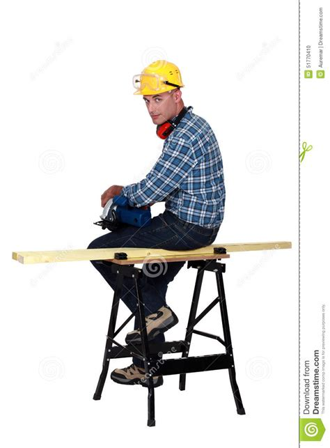 bench for sitting carpenter sitting on bench stock photo image 51770410